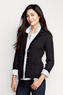 Women's Luxurious Merino Rib Cardigan Jacket