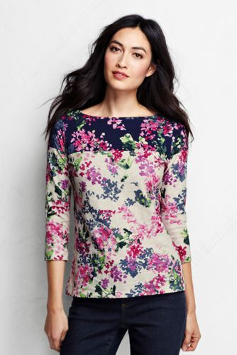 Women's Regular Three-quarter Sleeve Boatneck Art Tee