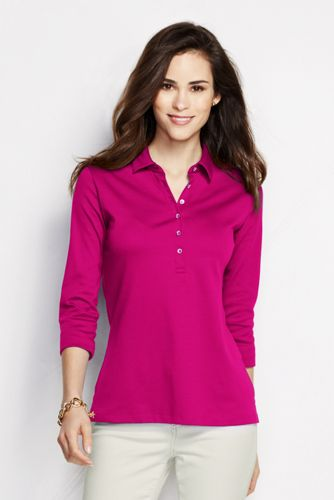 Women's Petite Slim Fit Three-quarter Sleeve Plain Pima Polo