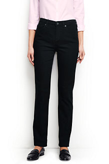 Women's High Rise Straight Leg Black Jeans