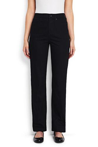 Taillenhohe Straight Jeans in Schwarz