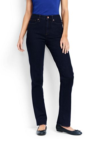 Womens Petite High Waisted Jeans, Indigo Straight Leg - 14/16 26 - BLUE Lands End