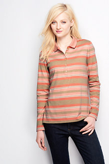 Women's Slim Fit Long Sleeve Stripe Pima Polo