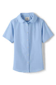 Little Girls Short Sleeve Peter Pan Collar Broadcloth Shirt