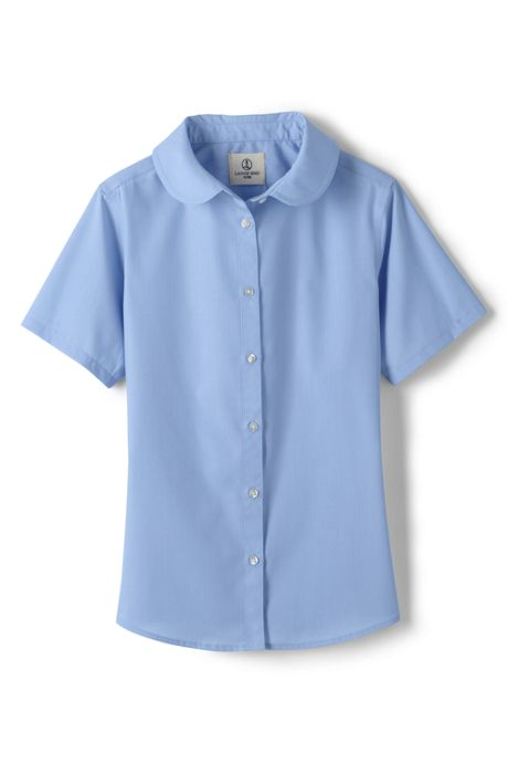 Girls Short Sleeve Peter Pan Collar Shirt