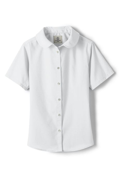 School Uniform Girls Short Sleeve Peter Pan Collar Broadcloth Shirt