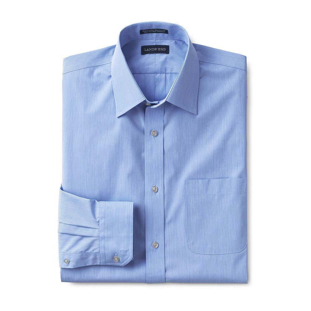 Lands' End Men's Dress Code Big Long Sleeve Stripe Dobby Dress Shirt