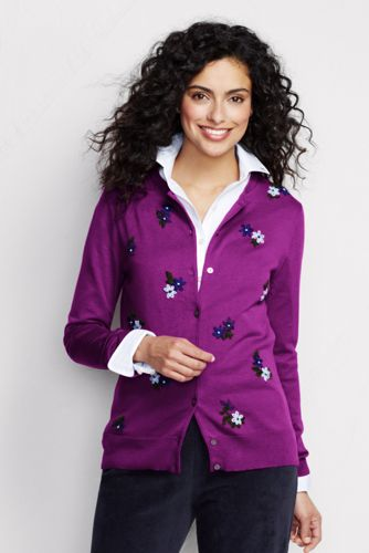 Women's Regular Supima® Embroidered Cardigan