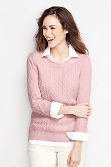Women's Lofty Blend Three-quarter Sleeve Marl Cable Pullover