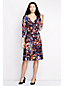 Women's Regular Three-Quarter Sleeve Ruched Wrap Print Jersey Dress