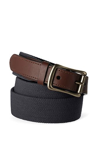Lands' End Elastic Surcingle Belt 446474: Black