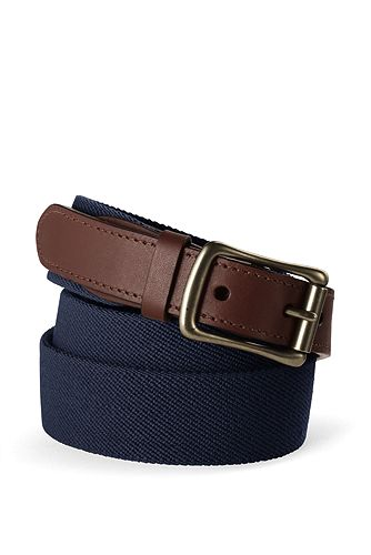 Lands' End Elastic Surcingle Belt 446474: Navy