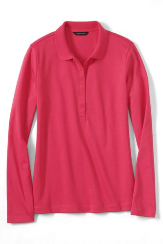 Women's Regular Slim Fit Long Sleeve Pima Polo