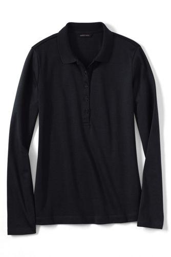 Le Polo Pima® Coupe Ajustée et Manches Longues Uni, Femme Taille Standard