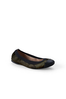 Women's Eliza Calf Hair Camo Print Ballet Pumps