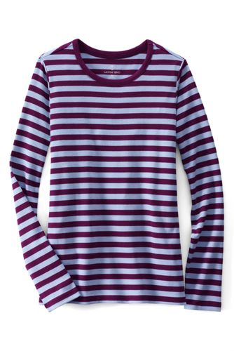 Women's Petite Long Sleeve Shaped Crew Neck Stripe Tee