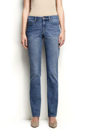 Womens Petite Straight Leg Jeans - Mid Rise, Indigo - 8 26 - BLUE Lands End