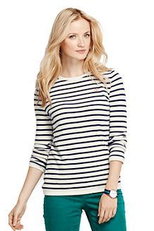 Women's Cashmere Stripe Crew Neck