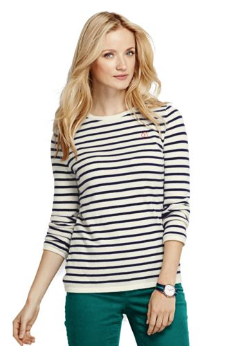 Women's Regular Cashmere Stripe Crew Neck
