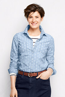 Women's Patterned Chambray Shirt