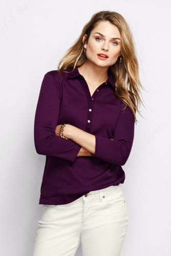 Women's Regular Slim Fit Three-Quarter Sleeve Lace-trimmed Pima Polo