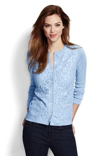 Women's Regular Supima Lace Front Pocket Cardigan