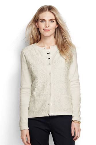Le Cardigan Supima Dentelle avec Poches Femme, Taille Standard