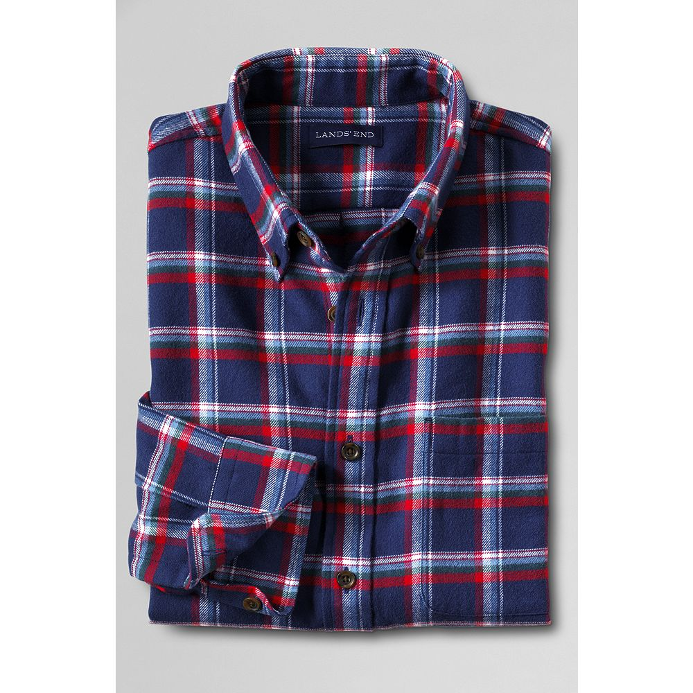 Lands' End Men's Traditional Fit Long Sleeve Flannel Shirt at Sears.com