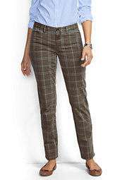 Women's Petite Not-Too-Low Rise Slim Ankle Pants-Brown Plaid