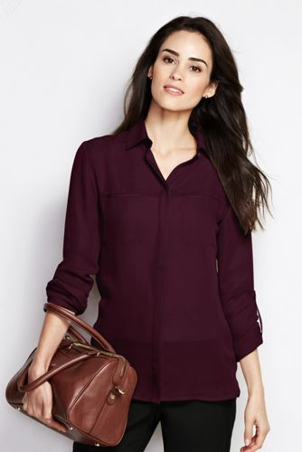 Women's Regular Georgette Roll-sleeve Blouse