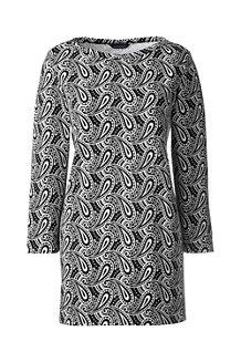Women's Three Quarter Sleeve Starfish Boatneck Print Tunic