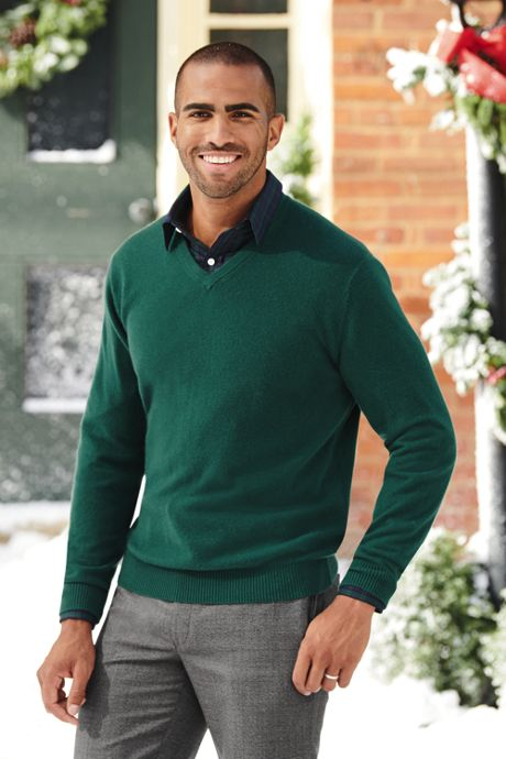 Men's Tall Fine Gauge Cashmere V-neck Sweater