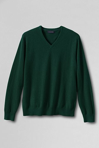 Fine Gauge Cashmere V-neck Sweater 447505: Rich Pine