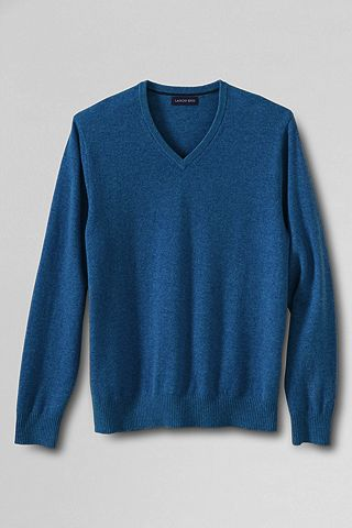 Fine Gauge Cashmere V-neck Sweater 447505: Lapis Blue Heather