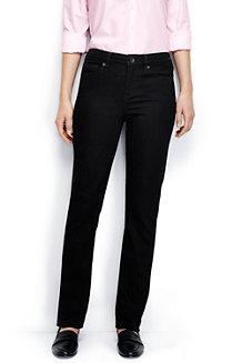 Women's Black Mid Rise Straight Leg Jeans
