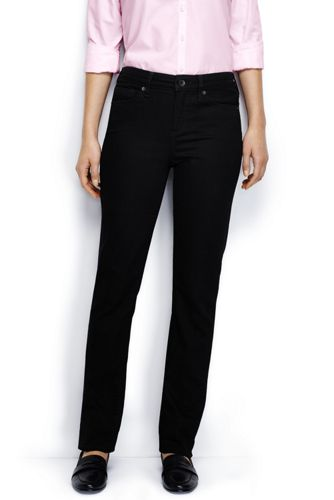 Women's Plus Black Mid Rise Straight Leg Jeans