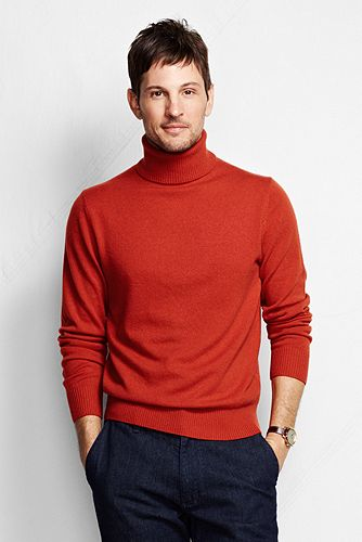 Fine Gauge Cashmere Turtleneck Sweater 447506: Canyon Orange