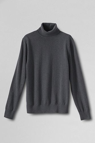 Fine Gauge Cashmere Turtleneck Sweater 447506: Charcoal Heather