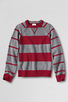 Boy's Pattern Block Stripe Crew Neck Jumper