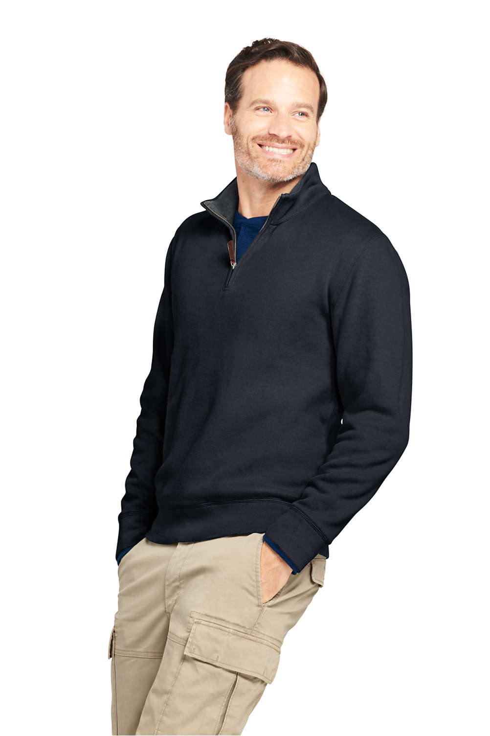 7f64dcfda1 Men s Bedford Rib Quarter Zip Sweater from Lands  End