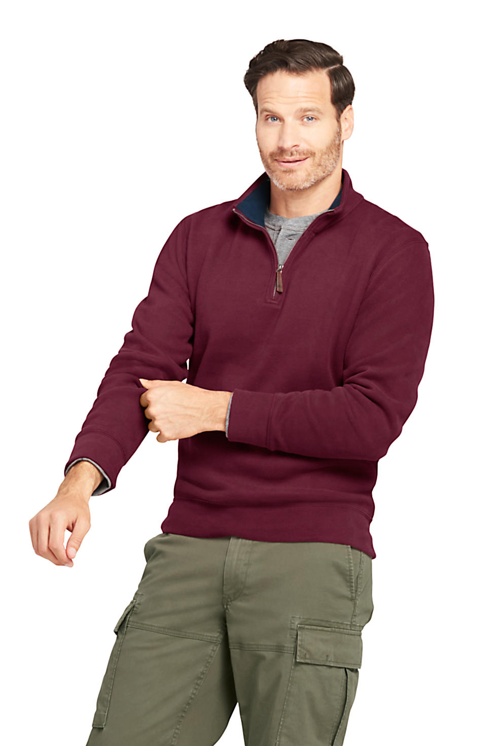 Lands End Mens Bedford Rib Quarter Zip Sweater