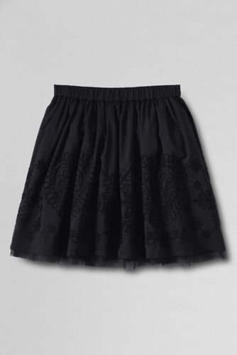 Little Girls' Embroidered Taffeta Skirt