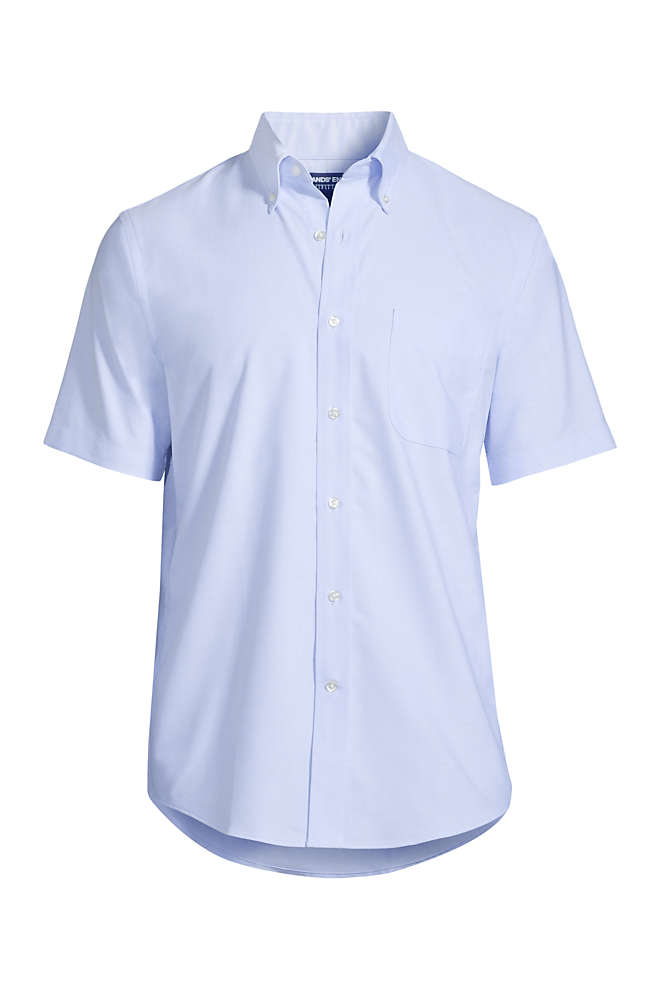 Men's Tall Short Sleeve Buttondown Stain Release Oxford Sport Shirt, Front