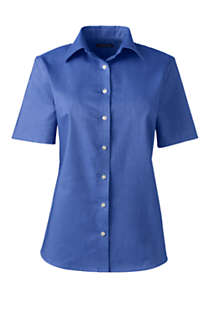 Women's Plus Size Short Sleeve Oxford Shirt, Front