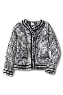 Girls' Long Sleeved Tweed Button Front Jacket