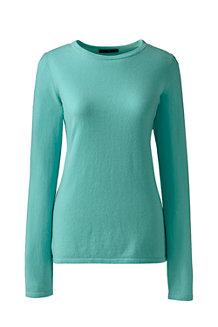 Unifarbener Klassischer Kaschmir Langarm-Pullover mit rundem Ausschnitt für Damen