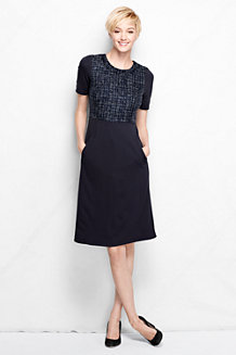 Women's Woven Panel Welt Pocket Shift Dress