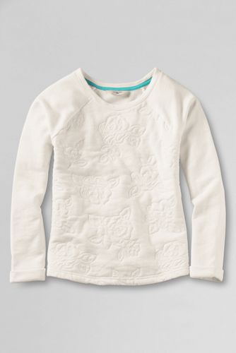 Little Girls' Long Sleeve Quilted Embroidery French Terry Sweatshirt