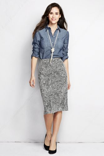 Women's Regular Jacquard Jersey Pencil Skirt