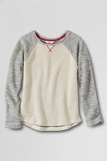 Girls' Uneven Hem Marled French Terry Sweatshirt